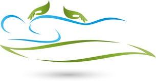 Dois mãos e humanos, massagem e logotipo naturopathic ilustração do vetor