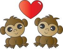 Dois macacos adoráveis no amor imagem de stock royalty free
