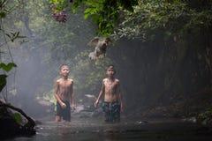 Dois meninos com pato imagem de stock royalty free