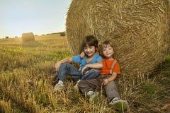 Dois meninos em um monte de feno no campo Imagens de Stock