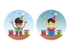 Dois meninos felizes na festa de anos ilustração royalty free