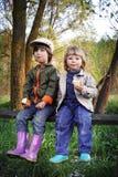 Dois meninos na floresta foto de stock royalty free