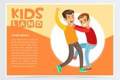 Dois meninos que batem-se em uma luta, crianças adolescentes que discutem, comportamento agressivo, caçoam o elemento liso do vet ilustração stock