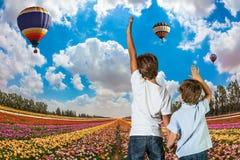 Dois meninos que estão em um campo Foto de Stock Royalty Free