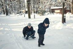 Dois meninos que montam no trenó no inverno Imagens de Stock Royalty Free