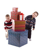 Dois meninos que peeping foto de stock