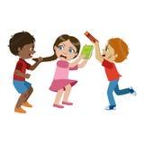 Dois meninos que tiranizam uma menina, parte do mau caçoam o comportamento e tiranizam a série de ilustrações do vetor com os car ilustração stock