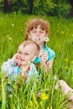 Dois miúdos na grama Fotos de Stock
