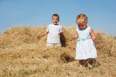 Dois miúdos no feno Fotos de Stock
