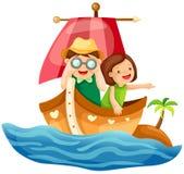 Dois miúdos que navegam no mar Fotografia de Stock