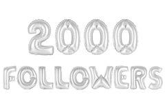 Dois mil seguidores, cromam a cor cinzenta Fotos de Stock Royalty Free