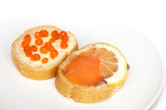 Dois mini sanduíches fotografia de stock