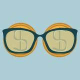 Dois moedas e vidros do dólar do ouro com diopters Imagens de Stock Royalty Free