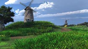 Dois moinhos de vento Fotografia de Stock Royalty Free
