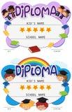 Dois moldes do diploma com as crianças no vestido da graduação ilustração royalty free