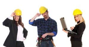 Dois mulher de negócios e trabalhador da construção fotos de stock