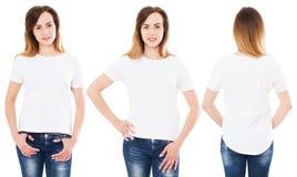 Dois mulher em opiniões dianteiras do t-shirt, opinião traseira a menina no tshirt isolado fotos de stock
