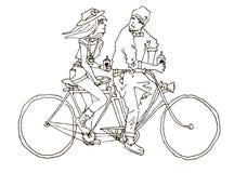 Dois na bicicleta e no café tandem Fotografia de Stock