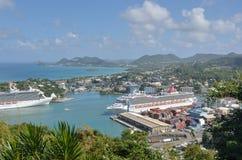 Dois navios de cruzeiros na capital de St Lucia Foto de Stock Royalty Free