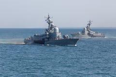 Dois navios no mar Fotos de Stock Royalty Free