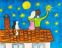 Dois no telhado Imagens de Stock