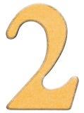 2, dois, numeral da madeira combinaram com a inserção amarela, isolada sobre Imagens de Stock