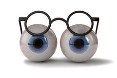 Dois olhos com vidros Fotografia de Stock