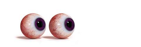 Dois olhos humanos realísticos com a íris roxa, isolada no fundo branco 3d rendem a bandeira ilustração stock