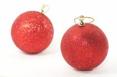 Dois ornamento da árvore de Natal, profundidade rasa Fotos de Stock