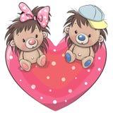 Dois ouriços bonitos em um coração ilustração do vetor