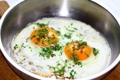 Dois ovos fritados Fotografia de Stock