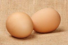 Dois ovos no linho Imagem de Stock Royalty Free