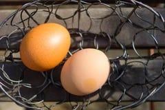 Dois ovos no lugar de aço Fotografia de Stock Royalty Free