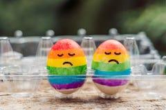 Dois ovos são coloridos nas cores do arco-íris como uma bandeira de g Foto de Stock