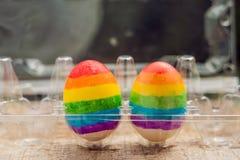 Dois ovos são coloridos nas cores do arco-íris como uma bandeira de g Fotografia de Stock