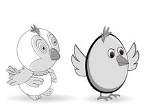 Dois pássaros bonitos do amor da fantasia. Imagens de Stock Royalty Free