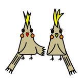 Dois pássaros bonitos dos desenhos animados ilustração royalty free