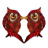 Dois pássaros de beijo Coração Com dia do Valentim s Ame o cartão Jogo de caracteres bonito dos desenhos animados ilustração stock