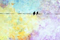 Dois pássaros em um fio Fotografia de Stock