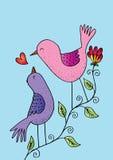 Dois pássaros em uma filial Fotografia de Stock Royalty Free