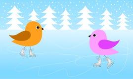 Dois pássaros estão patinando no gelo Foto de Stock