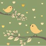 Dois pássaros na tâmara do amor ilustração do vetor