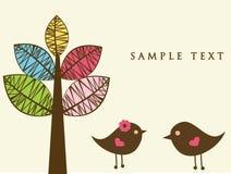Dois pássaros na tâmara do amor ilustração royalty free
