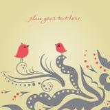 Dois pássaros na tâmara do amor Imagens de Stock