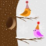 Dois pássaros que sentam-se em uma árvore Fotos de Stock Royalty Free