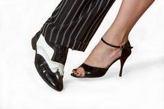 Dois pés dos dançarinos Fotografia de Stock