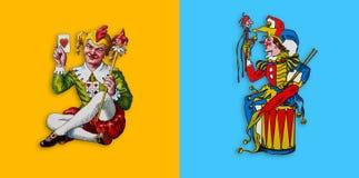 Dois palhaços do cartão no quadrado amarelo e azul ilustração stock