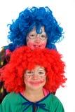Dois palhaços pequenos engraçados Imagem de Stock Royalty Free