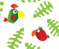 Dois papagaios e folhas de palmeira ilustração royalty free