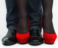 Dois pares de pés - homem e fêmea Fotografia de Stock